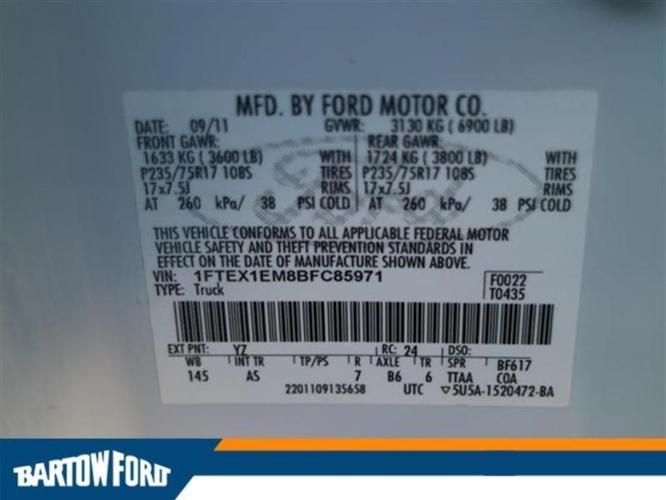 2011 Ford F-150 XL 4x4 XL 4dr SuperCab Styleside 6.5