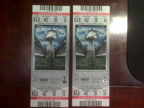 2011 Super Bowl XLV 2 Tickets