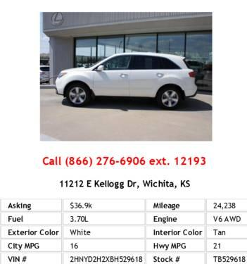 Acura  2011 on 2011 Acura Mdx Base White Suv V6 For Sale In Wichita  Kansas
