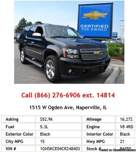 2013 Chevrolet Tahoe Ltz For Sale: 2012 Chevrolet Tahoe K1500 Ltz Black SUV V8 For Sale In
