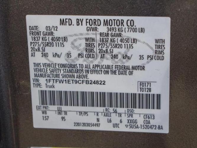 2012 Ford F-150 Platinum 4x4 Platinum 4dr SuperCrew
