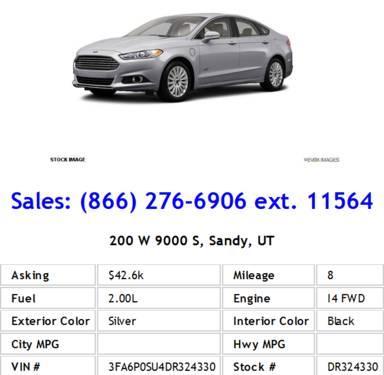 2013 Ford Fusion Energi Titanium Silver Sedan I4
