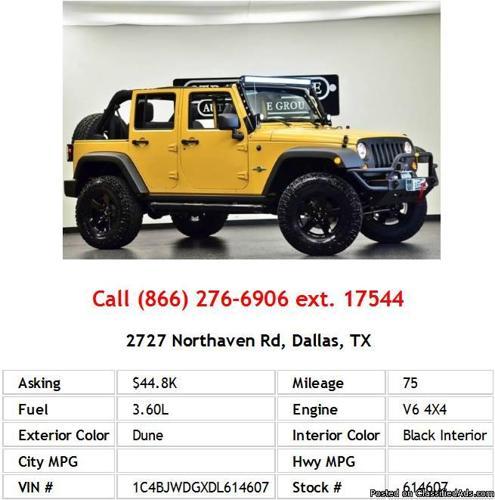 2013 Jeep Wrangler Unlimited Sport Dune SUV V6 For Sale In