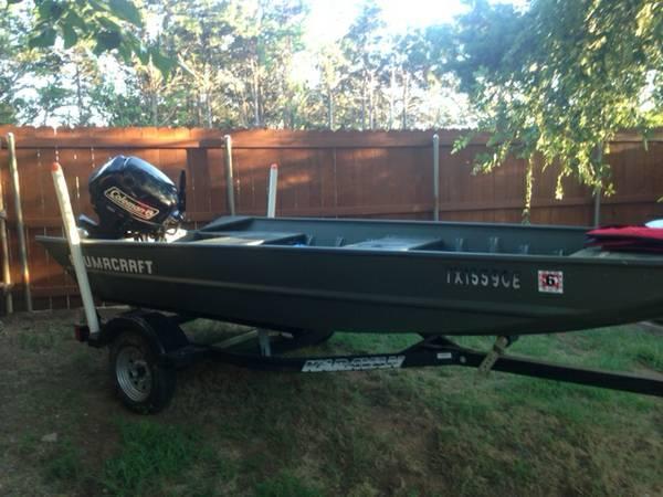 2014 Alumacraft Jon boat 1448 w/ Brand New Coleman 20 hp Motor - $5400