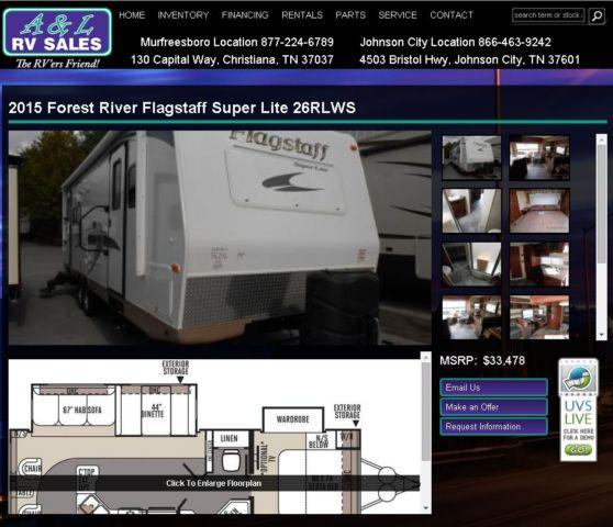 2015 forest river flagstaff super lite 26rlws johnson city for sale in johnson city. Black Bedroom Furniture Sets. Home Design Ideas