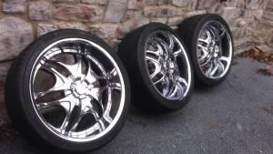 22 chrome rims and tires used fit chrysler 300 magnum charger explorer merc for sale. Black Bedroom Furniture Sets. Home Design Ideas