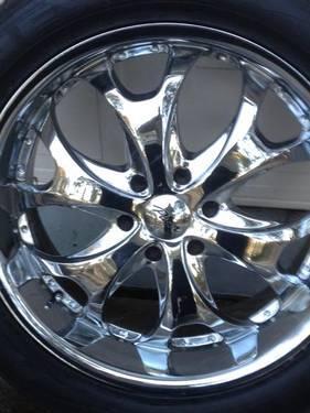 22 pacer chrome rims 6 lug each with tires for sale in fayetteville north carolina. Black Bedroom Furniture Sets. Home Design Ideas