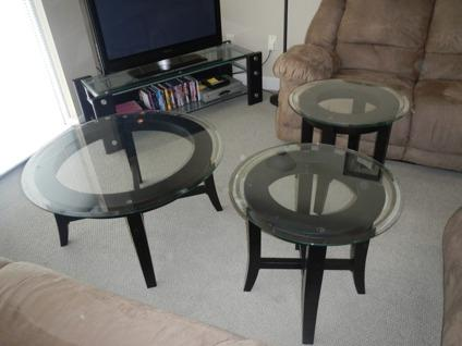 Obo 3 Piece Ashley Furniture Glass Black Wood Table Set 1