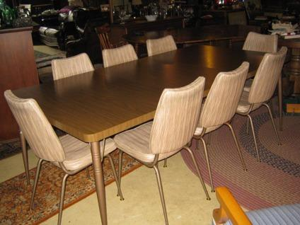 Mid Century Chrome Formica Table W 8 Matching Chairs For Sale