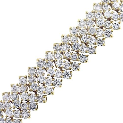 25 Carat Diamond Chevron Bracelet in 18K Yellow Gold