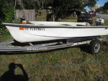 $250, 1977 JOHNSON 15 1/2 FT FISHING BOAT, TRAILER & 18HP OUTBOARD (Jax Bch)