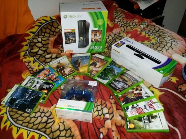 250GB Xbox 360, Kinect, and games - $250