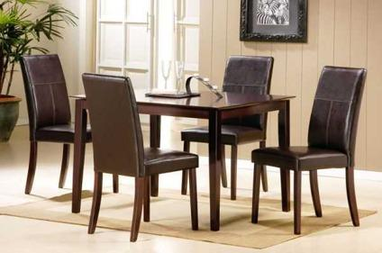 $254 5 Pieces Espresso Finish Dining Table and Chairs