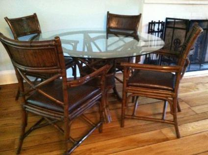 $275 5pc Bamboo/Glass Dining Set By Pier 1 Imports