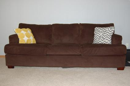 Obo dark brown corduroy sofa couch mint condition for for Brown corduroy couch