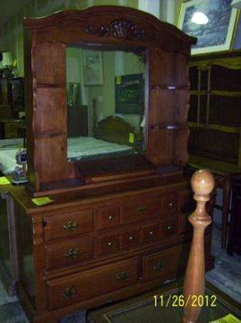 $299 Medium Oak Dresser with Mirror Hutch BA-19346 91st  Elm