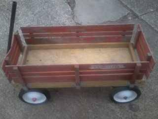 2nd chance  original vintage wooden radio flyer wagon - $75