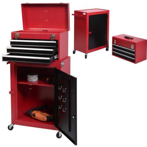 2pc Tool Chest  Cabinet Storage Rolling Toolbox Organizer