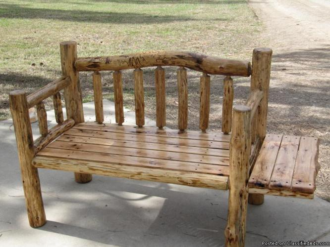 3 1 2 39 Ft Log Bench W Oak Seat Side Table For Sale In Athol Idaho Classified
