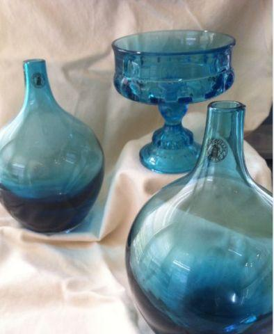 3 Blue Teal Glass Vases Glassware For Sale In Owings Mills