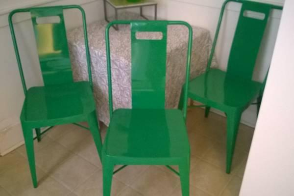 3 Ming Chairs Crate And Barrel Metal Green   $50