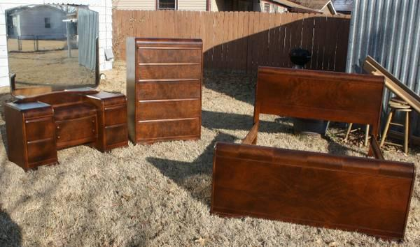 walnut waterfall full size bedroom set for sale in wichita kansas