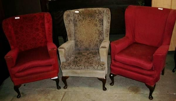 3 Scottish Wing-Back Chairs