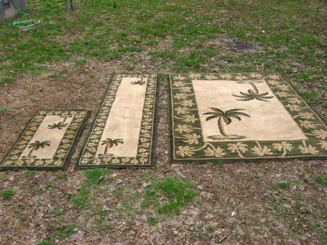 3 Set Area Rugs Quot Persian Oasis Quot Green Beige Palm