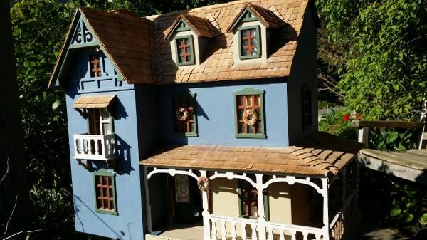 3-story handmade wooden dollhouse - $175