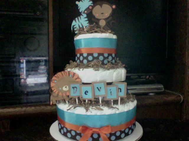 3 Tier Safari Diaper Cake Blue Orange Brown Baby