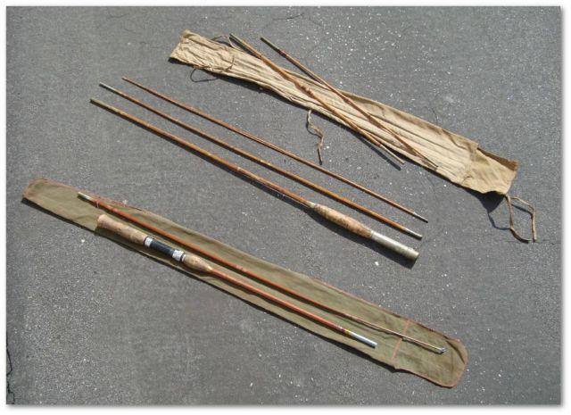 3 Vintage Antique Bamboo Fly Fishing Rods And 2 Cases For
