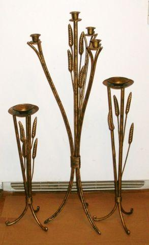 3 VINTAGE TALL WROUGHT IRON CANDLE HOLDERS - GOLD &