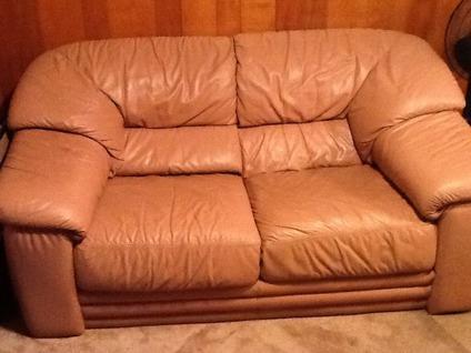 Plush Leather Dusty Rose Mauve Sofa
