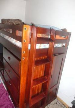 Twin Loft Bed With Desk Drawers Trundle Bed And Storage