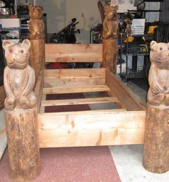 Two Twin Hand Carved Bear Wood Beds Great For Cabin Or