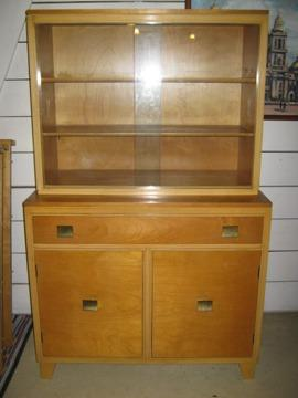 Mid Century Modern Blond Dining Hutch W Top Glass Display