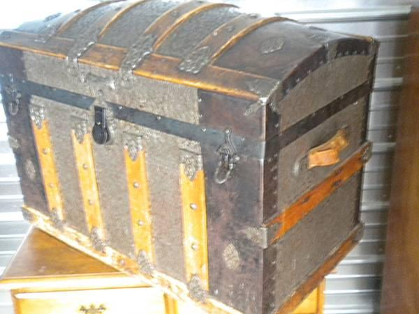 332 Year Old Authenic Antique Camel Top Steamer Trunk