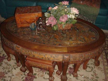 $350 Oriental Antique Carved Chow Table U0026 Six Seats