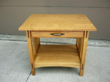 Handcrafted Mission Style White Quartersawn Oak End Table With Drawer For Sale In Des Moines