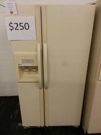 36 Beige Kenmore Side by Side Refrigerator 12 month Warranty - $250