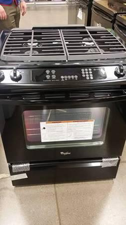 36 New Whirlpool Black slide-in gas range - $1250