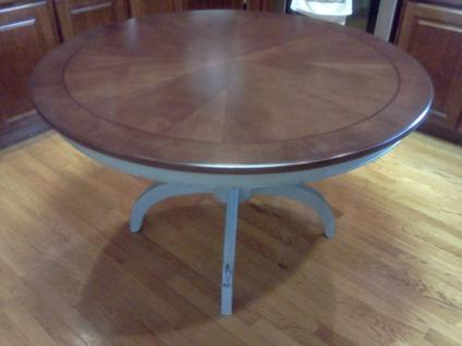 Distressed Blue And Mahogany Refurbished Round Dining Table For Sale In Ralei