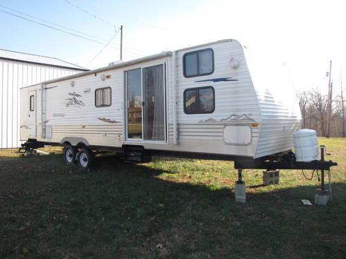 38ft. park model trailer w/ 2 slides, bunk beds, queen bed ...