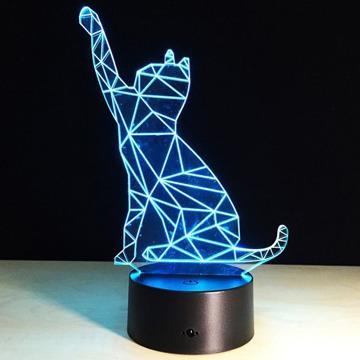 3D beckon cat shape touch colorful light