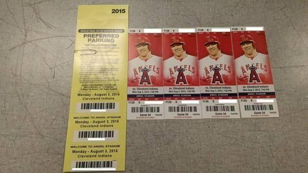 (4)Angels vs Indians Tickets for Monday 08/03/15 - $160