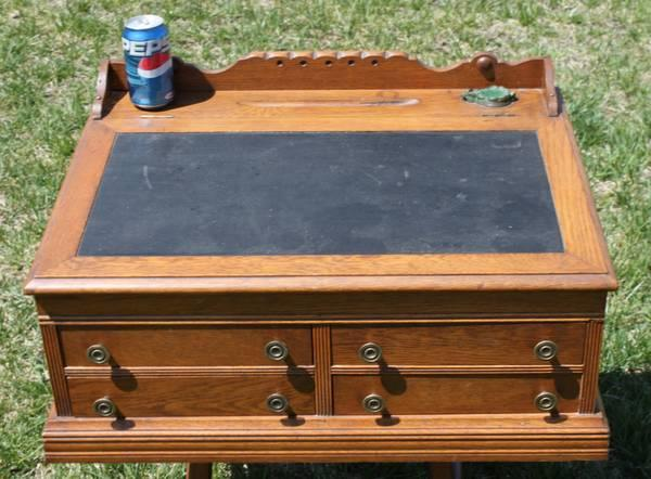4 Drawer Antique Table Top Teachers Desk With Old Inkwell 1880s