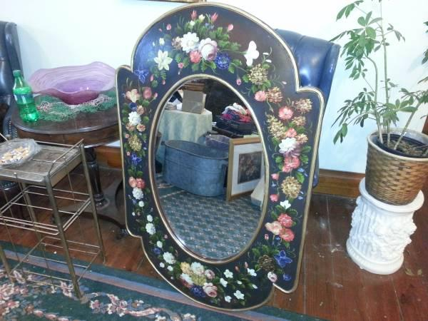 4 Foot Beveled Oval Wall Mirror In Wood Frame W Hand