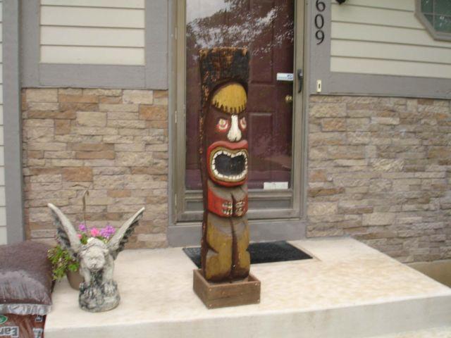 4 foot Vintage Tiki Totem Pole, Hand carved Luau Statue