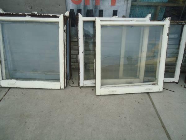 4 Pair Of Top & Bottom Old Vintage Windows & Wood Frames ...