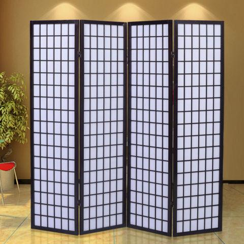 4 Panel Room Divider Screen Japanese-Oriental Style Wood